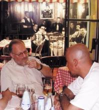 Bill Peterson with Paco Zanoia at Little Italy Restaurant in Verbania